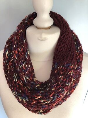 d4c18ac78b3e Handmade Knitted Double Infinity Scarf Snood Burgundy Wine Multicolour  Unique