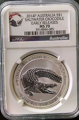 2014P Australia $1 Saltwater Crocodile Early Releases MS70 NGC .999 SILVER