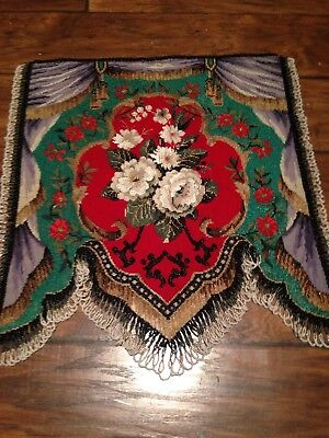 Superb Antique Victorian Beadwork and Woolwork Panel Fire Screen