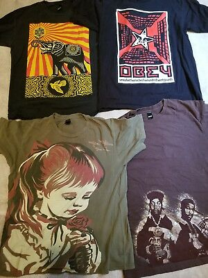 Vintage Rare OBEY T-Shirt Lot of 4 Size Large