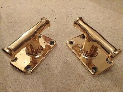 A Matching Pair Of Antique Gunmetal/brass Cleats For Classic Boat Or Interior...