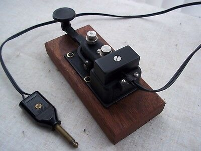 Military  Morse  Code/telegraph Key.....usa Navy Flame Proof ...on A Wooden Base