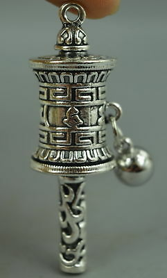 Fine China Collect Old Tibet Silver Carve Totem Rotatable Amulet Rare Pendant