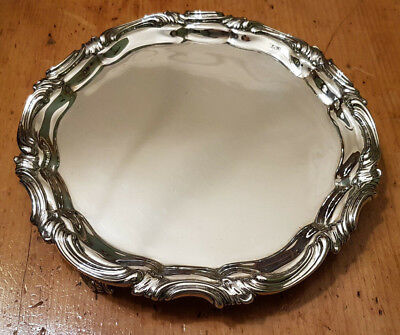 Edwardian Solid Sterling Silver Card Tray/Waiter/Salver  Martin Hall & Co 1905