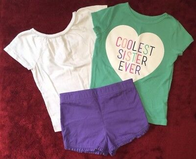 CARTERS & HEALTHTEX Lot Of 3 Short Sleeve T-Shirts & Shorts Girls Size 5T