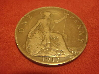 British Large Penny - 1917 - Nice Condition - 102 Years Old - World War I - Look