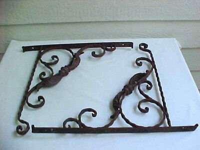 ANTIQUE Matched Pair Lg ORNATE CAST Iron SHELF Brackets PLANT Hooks HEAVY DUTY