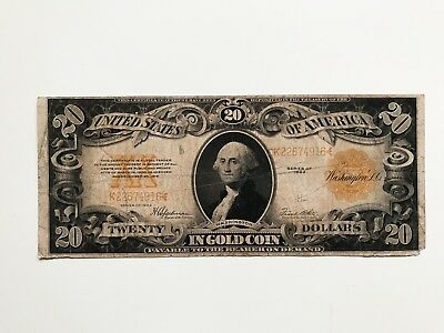 $20 Dollars 1922 Note Large Size Gold Certificate
