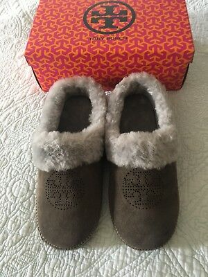 2dfddb08df8 Tory Burch Coley Slippers Split Suede Perforated Elephant Gray Size 7 New