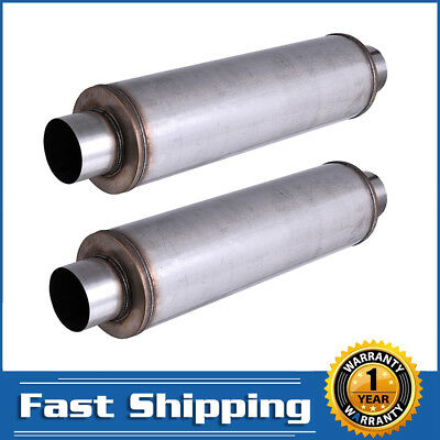 """409 Stainless Steel Performance Diesel Muffler 4/"""" inlet outlet 24/"""" body"""