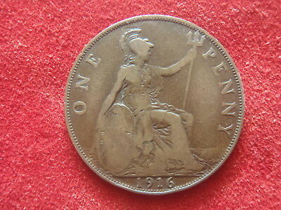 British Large Penny - 1916 - Nice Condition - 103 Years Old - World War I - Look