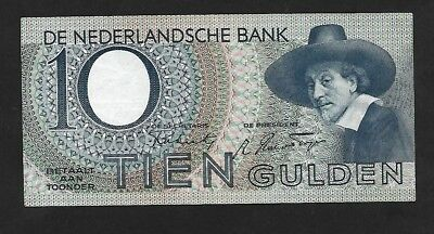 Netherlands 10 Gulden Banknote 1944 issue gVF