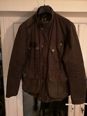 Barbour International Black Motorcycle Style Wax Jacket Size large Mens