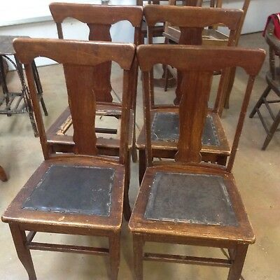 Antique Dining Chairs >> Set 4 Antique T Back Quarter Sawn American Oak Wood Dining Chairs
