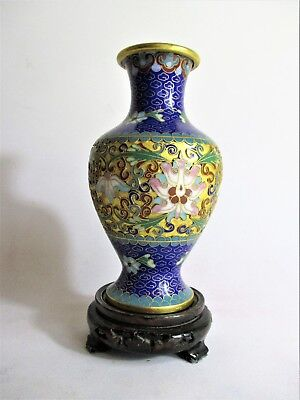 Beautiful Oriental Cloisonne Vase on Wooden Stand