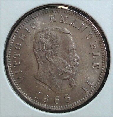 1863 Silver Italian Lira Coin, An Excellent Coin in My Opinion. Catalog KM# 5a.1