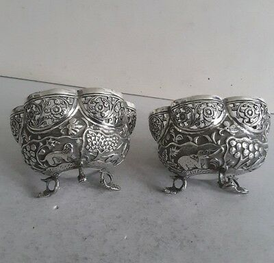 PRETTY PAIR INDIAN ANTIQUE SOLID SILVER ( UN- MK'D) SHAPED DISHES.       c.1900.