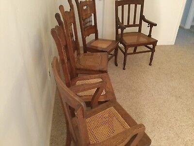 Antique Oak Pressed Back Dining Chairs fully restored excellent condition