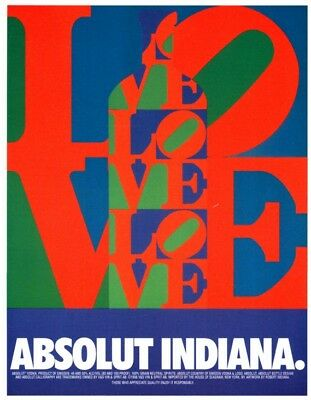Original Absolut Vodka Ad: Absolut Indiana by Robert Indiana, Great Condition