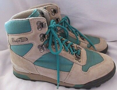VINTAGE VASQUE WOMENS Size 8 Hiking Boots Tan Teal Suede Canvas Style 7591