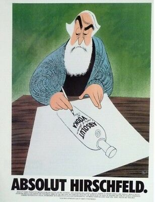 Original Absolut Vodka Ad: Absolut Hirschfeld by Al Hirschfeld - Great Condition
