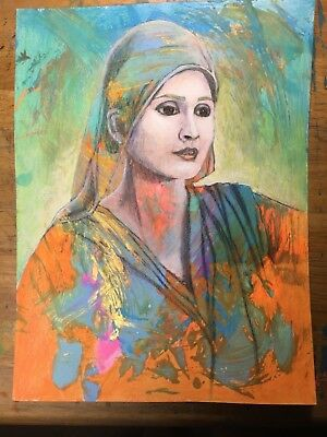 """Mother of Siddharth (Buddah) Original drawing and mixed media on paper. 9x12"""""""