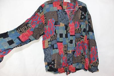 Vintage 80s ELECTRO Punk New Wave SURF BUTTON UP Mens SHIRT Indie Grunge Retro L