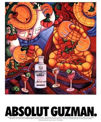 Original Absolut Vodka Ad: Absolut Guzman by Gilberto Guzman, Great Condition
