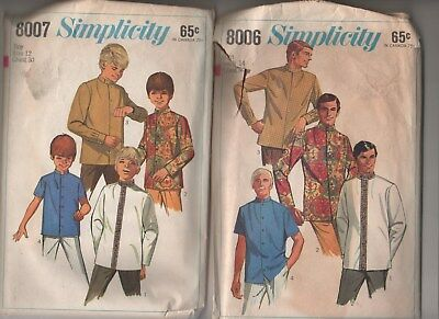 Vintage 1968 Simplicity Patterns 8006 & 8007 Meditation Guru Shirt~Nehru Jacket