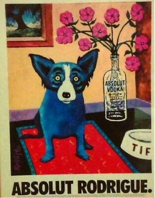 Original Absolut Vodka Ad: Absolut Rodrigue - George Rodrigue Blue Dog LikeNew