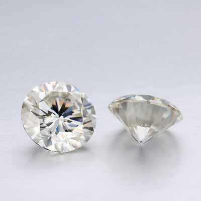 Loose Moissanite 8.00 mm 1.7 ct Off White Yellow Round Brilliant Cut For Ring