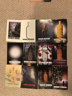 Lot of 12 Absolut Vodka Ads Playbill Size - Rosebud Hitchcock Houdini LikeNew