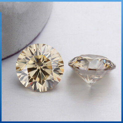 Loose Moissanite 7.70 mm 1.48 ct Off White Brown Round Brilliant Cut For Jewelry