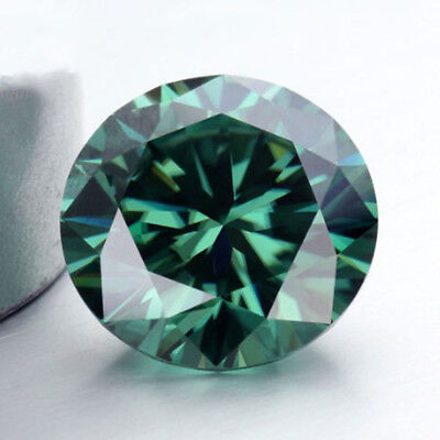 Loose Moissanite 5.80 mm 0.65 ct Vivid Green Round Brilliant Cut For Jewelry