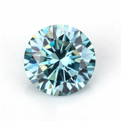 Loose Moissanite 9.15 mm 2.42 ct Intense Blue Round Brilliant Cut For Jewelry