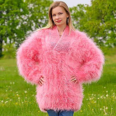 SUPERTANYA PINK Hand Knitted Mohair Sweater Shawl Collar Fuzzy Handmade Pullover