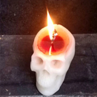 PyroPet Bleeding Skull Candles Blood Sculpture Pyro White Red Candle