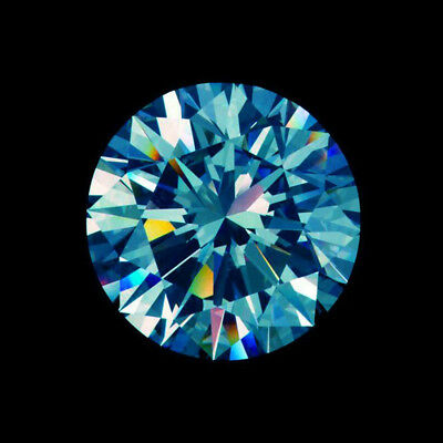 Loose Moissanite 6.15 mm 0.74 ct Vivid Blue Round Brilliant Cut For Jewelry