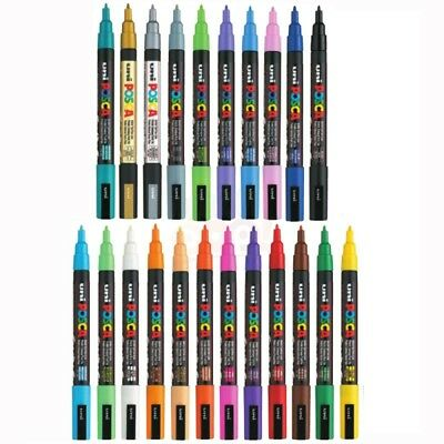 Posca Paint Marker PC-3M Fine Tip Pen Fabric Metal Glass PACK SIZES & ANY COLOUR