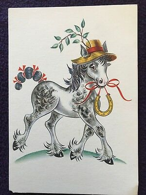 Old UK POSTCARD - THE LUCKY FOAL by ESMÉ JEUDWINE from watercolour