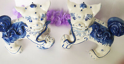 Vintage Fu Foo Dogs Pair (Lion Dogs)- Blue & White - Oriental - Heavy Porcelain