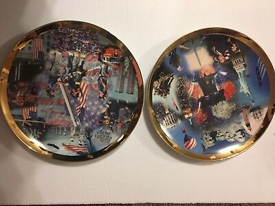 2001 Danbury Mint 911 Collector Plates - Let Freedom Ring - United We Stand