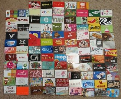 Collectible Gift Card - LOT of 104 Diff Cards - No Value - Each Card Pictured