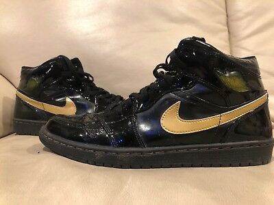 new product 49191 5cbf2 Og 2003 Nike Air Jordan 1 Retro Patent Leather Black Gold 136085-070 Size 9