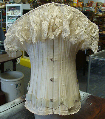 Antique Victorian Corset, Wasp Waist, Lace & Ribbon, Dated 1892