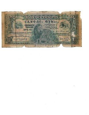 Ethiopia 50 Thalers 1932 AFRICA Bank of Ethiopia A Well Traveled Note Lion King