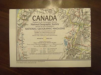 National Geographic Map With Ice Age Painting Canada March 1972