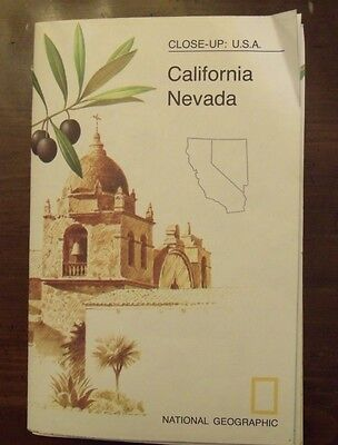 National Geographic Map Close Up California Nevada June 1974
