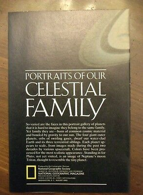 National Geographic MAP Portraits Of Our Celestial Family August 1990 Solar Syst