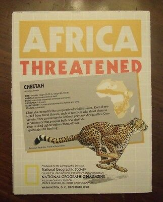 National Geographic Map Africa Threatened Animals Wildlife December 1990